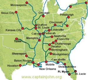Great Loop Route Distance - Tennessee waterways map