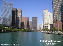 Boating through downtown Chicago