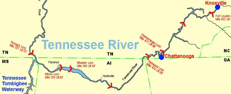 Cruising The Tennessee River - Tennessee waterways map